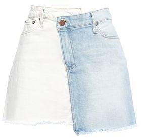 Alice + Olivia Amazing Frayed Two-tone Denim Mini Skirt