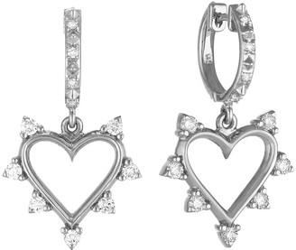 Marlo Laz Spiked Diamond Heart Drop Earrings - White Gold