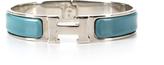 Hermes Deep Blue Enamel Silver Narrow Clic Clac PM Bracelet