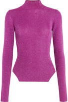 Thierry Mugler Metallic Ribbed Stretch-knit Turtleneck Sweater - Fuchsia