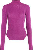 Thierry Mugler Metallic Ribbed Stretch-knit Turtleneck Sweater - Fuchsia