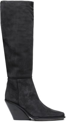Ann Demeulemeester Shearling-lined Suede Knee Boots