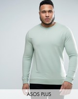 Asos Plus Lightweight Muscle Fit Sweatshirt In Blue