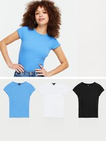 Thumbnail for your product : New Look 3 Pack Blue White And Black Ribbed Frill T-Shirts