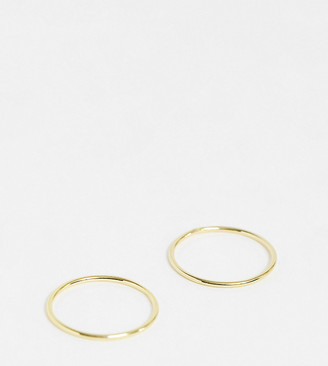 Kingsley Ryan 2 pack band rings in sterling silver gold plate