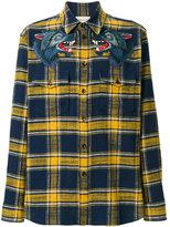 Gucci wolf appliquéd plaid shirt