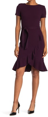 Calvin Klein Belted Ruffle Hem Dress