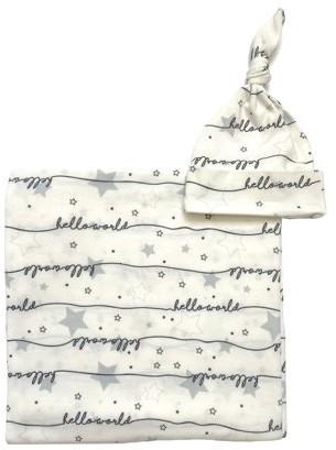 Wonder Nation Unisex Swaddle Wrap and Knot Cap Baby Shower Gift Set, 2pc