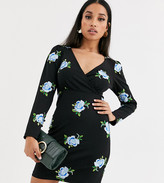 Asos DESIGN Petite embroidered scuba mini wrap dress in black with floral print
