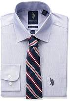 U.S. Polo Assn. Men's End Solid Dress Shirt with Tie