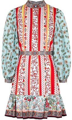 Alice + Olivia Maya printed cotton mini dress