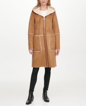DKNY Hooded Faux-Shearling Coat