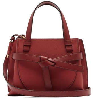 Loewe Gate Woven-leather Tote Bag - Dark Red