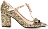 No.21 glitter bow detail pumps - women - Leather/Polyester/Silk Satin - 37