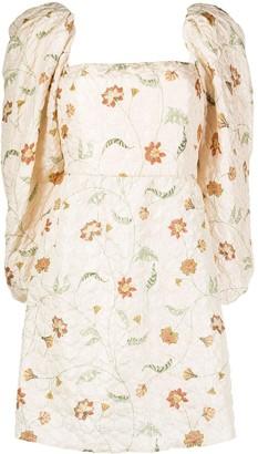 Johanna Ortiz Floral Print Puff-Sleeve Dress