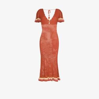 She Made Me Neha crochet fitted midi dress