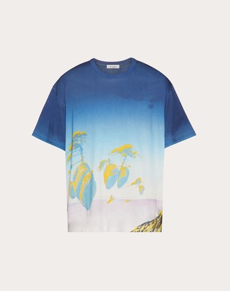 Valentino All-over Floating Island T-shirt Man Multicolored 100% Cotone L