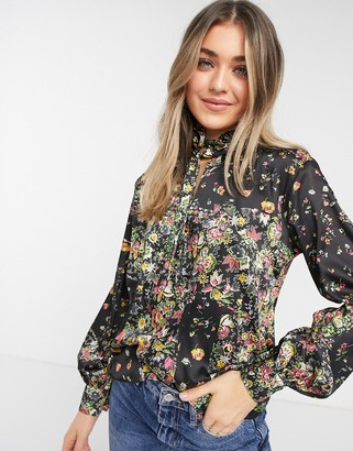 Topshop IDOL high neck blouse in multi floral