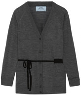 Prada Belted Wool Cardigan - Anthracite