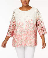 Charter Club Plus Size Ombré Lace Tunic, Created for Macy's