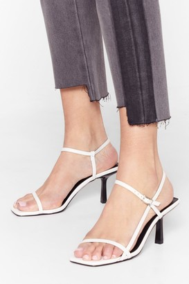 Nasty Gal Womens Low Me Away Faux Leather Strappy Kitten Heels - White - 7