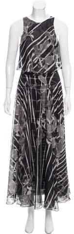 Halston Printed Chiffon Dress