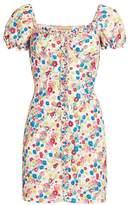 Andamane Daisy Floral Mini Puff-Sleeve Sheath Dress