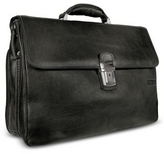 Chiarugi Men's Genuine Leather Double Gusset Briefcase