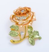 SENFAI Red Flower Brooch Lapel Pins Women Wedding Crystal Broches Bouquets Decorative Clothes Jewelery