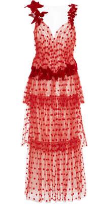 Rodarte Butterfly Tiered Tulle Maxi Dress