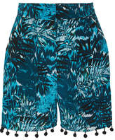 Matthew Williamson Pompom-embellished Printed Silk Crepe De Chine Shorts - Petrol