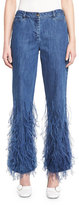 Michael Kors Ostrich-Feather Flared Ankle Jeans, Indigo