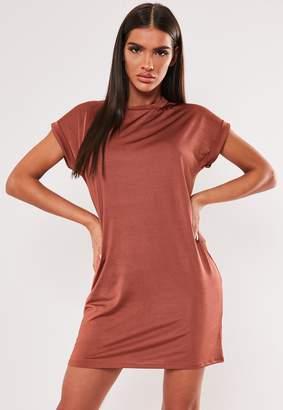 Missguided Rust Slinky T Shirt Mini Dress