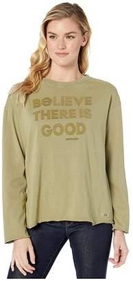 Life is Good Believe the Good Long Sleeve Ex-Boyfriend Crushertm Tee (Fatigue Green) Women's T Shirt