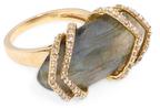 Maiyet 18K Yellow Gold, Labradorite & 11.70 Total Ct. Diamond Ribcage Cocktail Ring