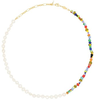 Anni Lu Alaia 18kt gold-plated pearl rainbo necklace