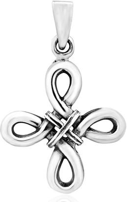 Aeravida Handmade Stunning Infinity Loop Cross Sterling Silver Charm Pendant