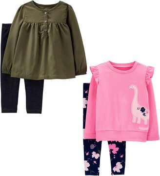 Simple Joys by Carter's 4-piece Long-sleeve Shirts and Pants Playwear Set Pink Unicorns/Chambray 5T