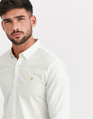 Farah Steen slim fit textured shirt in off white