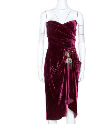 Dolce & Gabbana Burgundy Velvet Draped Strapless Dress M