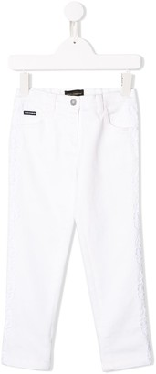 Dolce & Gabbana Kids Flower Embroidered Skinny Jeans
