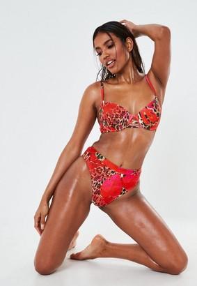 Missguided Palm Animal Print High Waisted High Leg Bikini Bottoms