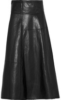 Victoria Beckham Leather Wrap Skirt - Black