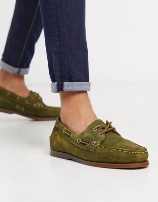 Polo Ralph Lauren suede merton boat shoe in olive-Green