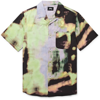 Stussy Leary Camp-Collar Tie-Dyed Brushed-Cotton Shirt