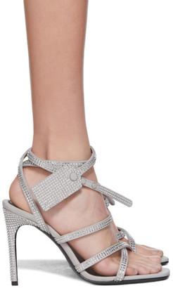 Off-White Grey Crystal Zip-Tie Sandals