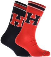 Tommy Hilfiger 2 Pack Patch Socks Red