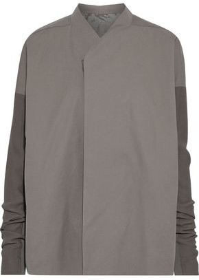 Rick Owens Crepe, Coated Denim And Cotton-blend Faille Jacket