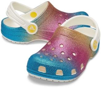Crocs Girls Classic Ombre Glitter Clog Slip On - Multi Glitter