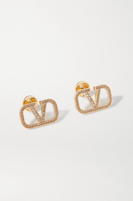 Valentino Gold-tone Crystal Earrings